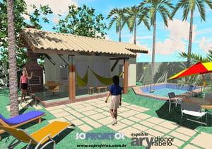 Planta de casa com 1 Quarto e Varanda na Praia - Cód. 55