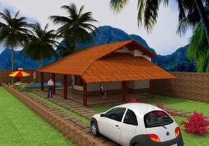 Planta de casa 1 suite com Varanda na Praia - Cód. 56