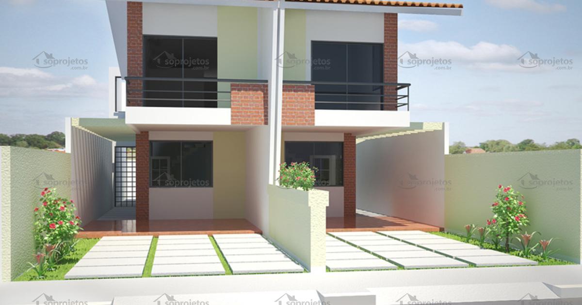 Planta de casa geminada com 5m de frente c d 77 s for Casas modernas 10 x 20