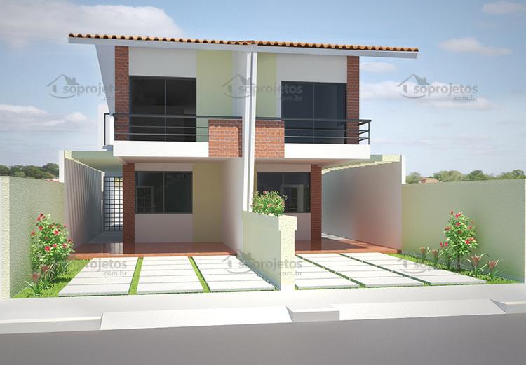 Planta de casa geminada com 5m de frente c d 77 s for Casa moderna 2 andares 3 quartos