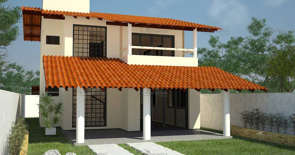 Sobrado 1 quarto e 2 su tes cod 83 p g 3 s projetos for Casas con tejados modernos