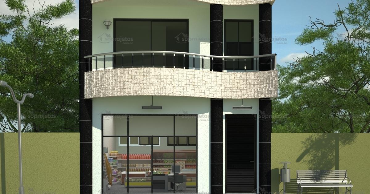 Sobrado comercial resid ncia com loja c d 85 s for Casa moderna 6 00 m x 9 00 m 2 pisos interior