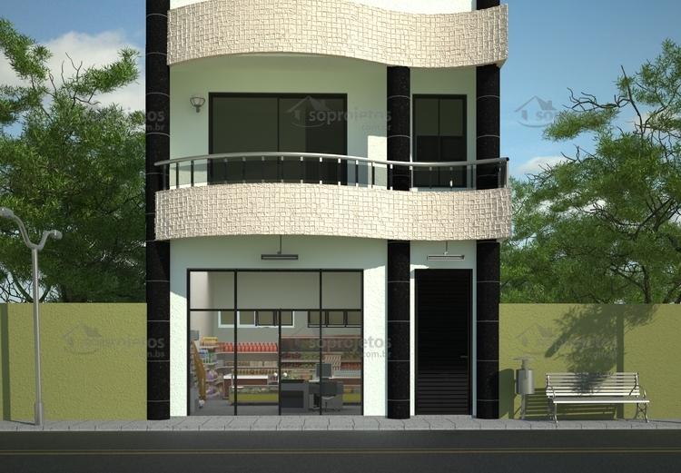 Sobrado comercial resid ncia com loja c d 85 s for Casa moderna 2 andares 3 quartos