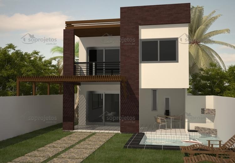Sobrado com 3 quartos c d 86 p g 5 s projetos for Casa moderna 140 m2