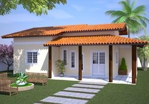 Projeto de casa com Varanda e 3 Quartos - Cód. 91