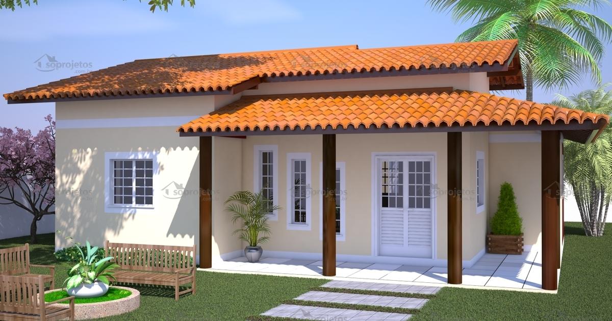 Casa com varanda e 3 quartos c d 91 s projetos for Casas e jardins simples