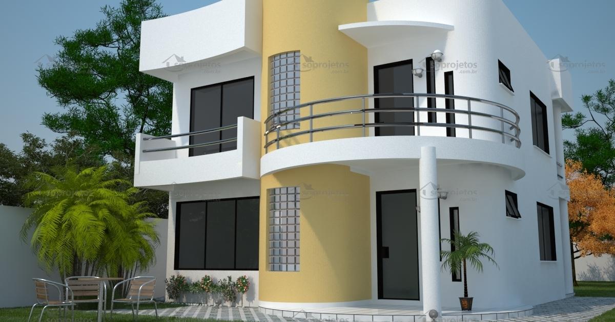 Sobrado moderno com 3 quartos e varanda c d 93 s for Modelos de casas medianas