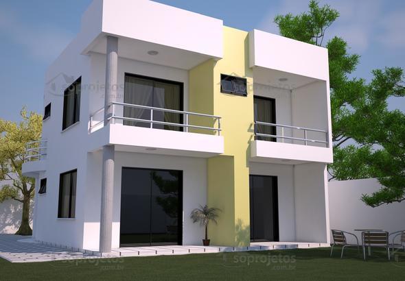 Sobrado moderno com 3 quartos e varanda c d 93 p g 14 for Fachadas para apartamentos pequenos