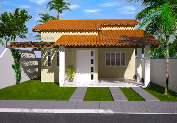 Casa Térrea para terreno 10 por 20 metros  Cód 94  Só Projetos