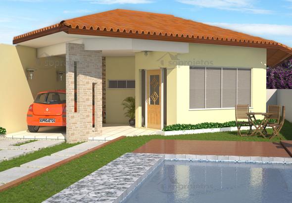 Modelo de casa t rrea com 3 quartos c d 96 s projetos for Ver frentes de casas
