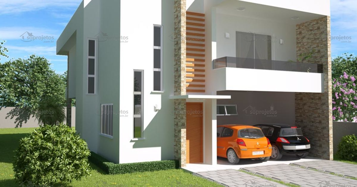 Sobrado 3 quartos com varanda gourmet c d 98 s projetos for Fachadas de casas modernas de 2 quartos
