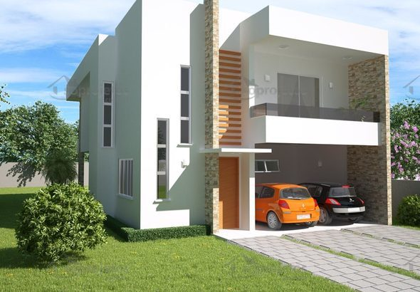 Sobrado 3 quartos com varanda gourmet c d 98 s projetos for Casa moderna 90m2