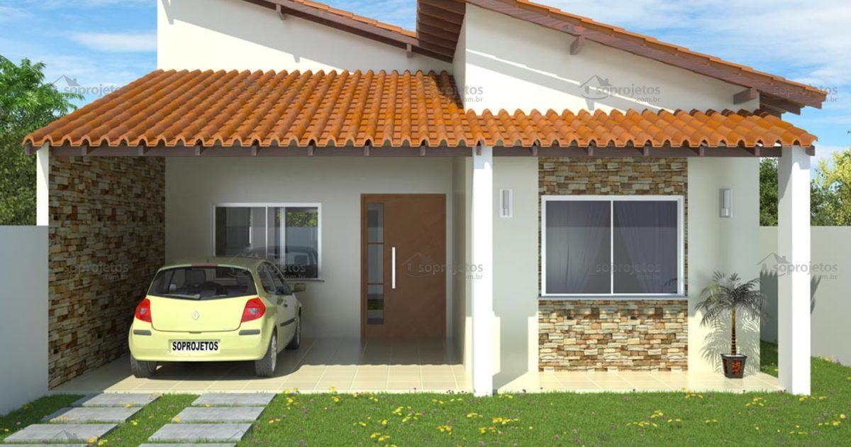 Projeto de casa 2 suites 1 quarto c d 99 p g 6 s for Fachadas de casas modernas de 2 quartos