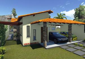 Projeto de casa térrea com varanda gourmet e pergolado - Cód. 103