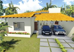 Planta de Casa Térrea com 3 quartos e varanda gourmet - Cód. 104