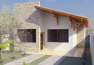 Planta de casa térrea com 2 quartos para 10m de frente - Cód. 117