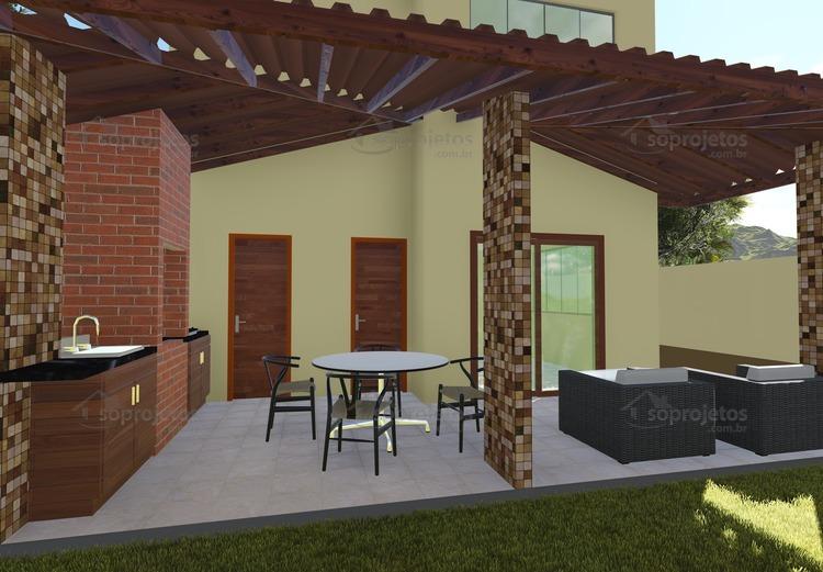 Planta de Casa - Sobrado Contemporâneo 3 suítes e Varanda Gourmet - Foto 2