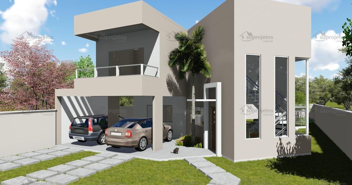 Modelo de sobrado com 4 quartos c d 128 s projetos for Modelo de balcones de casas modernas