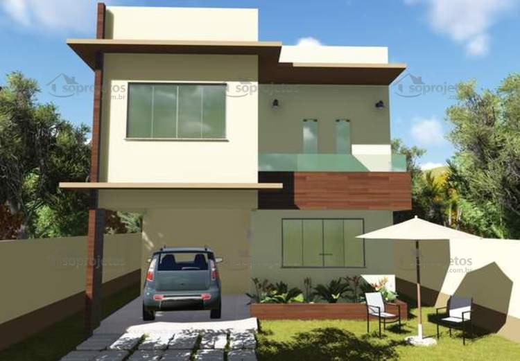 Vers o do projeto c d 123 com 3 quartos sendo 1 s s for Casa moderna 2 andares 3 quartos