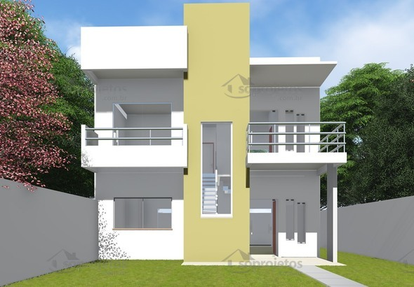 Vers o do projeto c d 93 com fachada quadrada c s for Modelo de casa 3 pisos