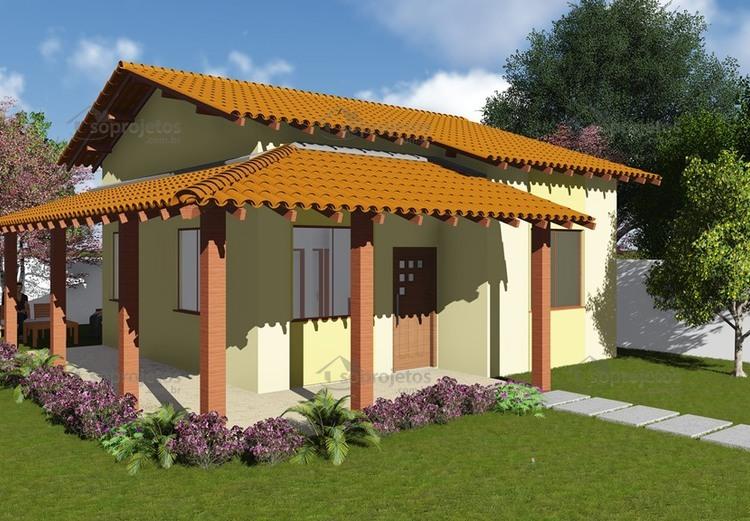 Plantas de Casas - Popular com Varanda - Cód. 44 - Maquete 1