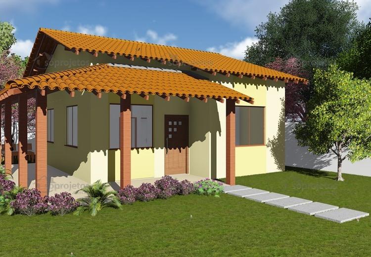 Plantas de Casas - Popular com Varanda - Cód. 44 - Maquete 2