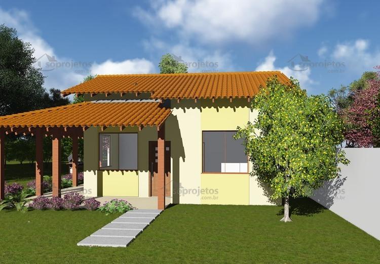Plantas de Casas - Popular com Varanda - Cód. 44 - Maquete 3