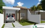 Projeto de Casa Térrea Geminada com 2 quartos - Cód. 135