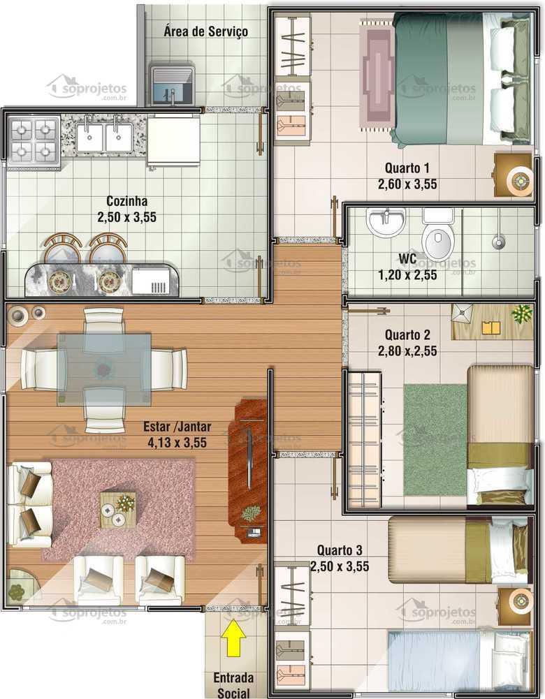 Popular 67 m2 c d 43 s projetos for Planos de cocinas pequenas y sencillas