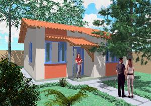 Planta de casa popular 67 m2 - Cód. 43
