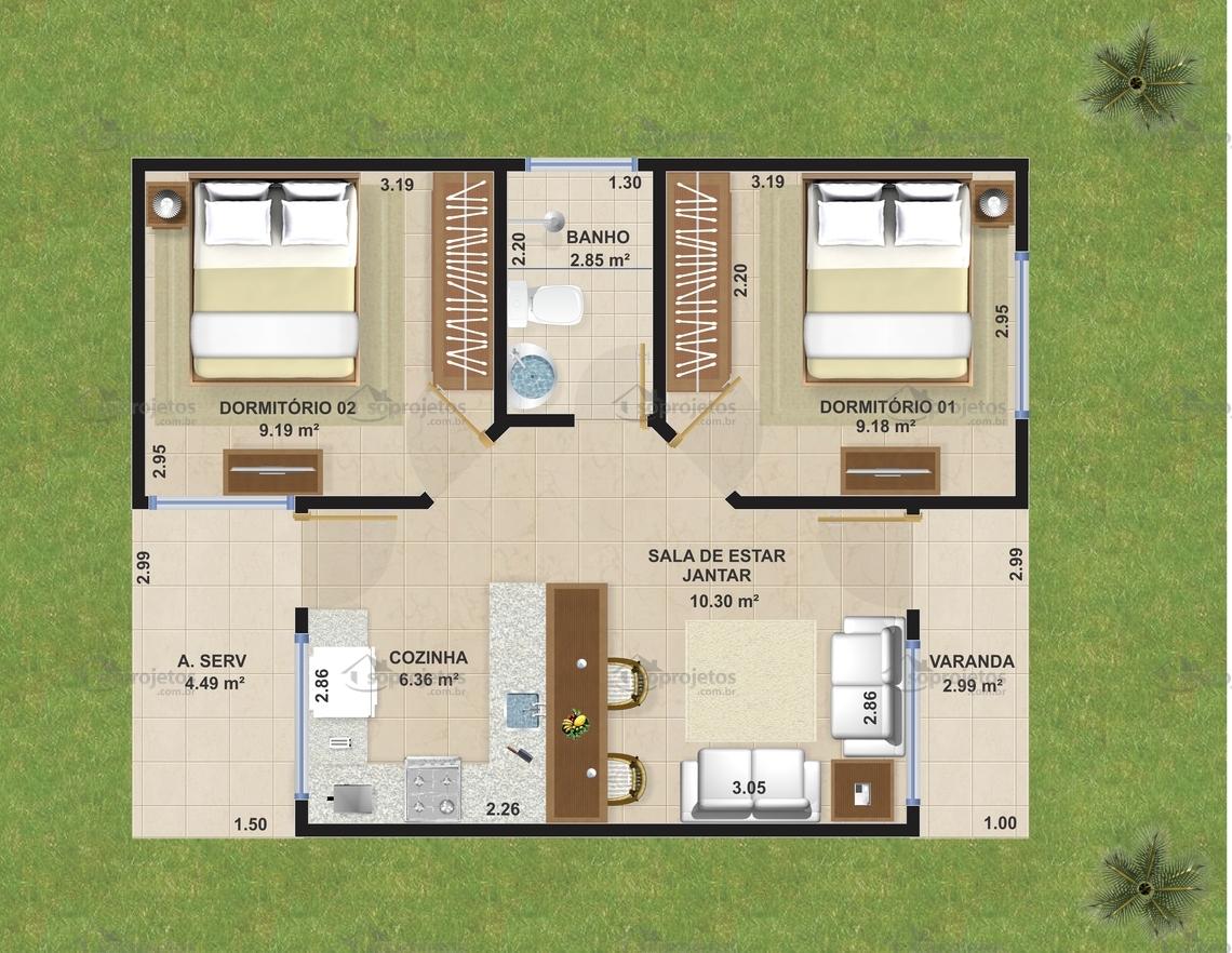Projeto De Casa Popular Econ Mica C D 101 S Projetos