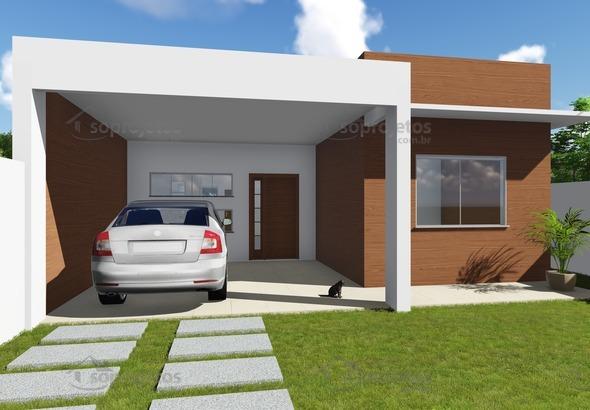 Modelo de Casa com Fachada Moderna Cód. 136 Perspectiva Esquerda